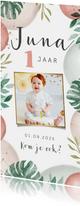 Kinderfeestje uitnodiging 1 jaar jungle ballonnen foto koala