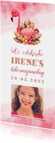 Kinderfeestje uitnodiging flamingo met waterverf en foto