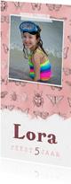 Kinderfeestje uitnodiging meisje vlinders insecten stoer