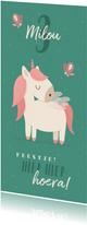 Kinderfeestje uitnodiging met unicorn en vlinders