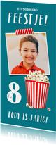Kinderfeestje uitnodiging popcorn met eigen foto