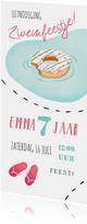 Kinderfeestje uitnodiging zwemmen donut slippers