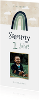 Längliche Einladung Kindergeburtstag mit Foto & Regenbogen