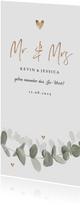 Längliche Einladungskarte Hochzeit Eukalyptusblatt
