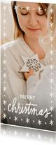 Lange kerstkaart met grote foto, sterren en merry christmas
