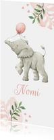 Langwerpig botanisch geboortekaartje met olifantje en ballon