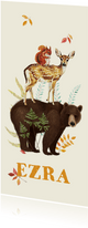 Langwerpig geboortekaartje beer met hert en eekhoorn