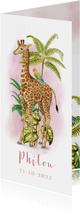 Langwerpig geboortekaartje giraffe met papegaait