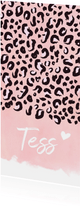 Langwerpig geboortekaartje meisje met roze luipaard print