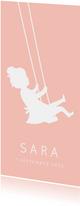 Langwerpig geboortekaartje meisje silhouet op schommel