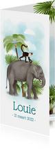 Langwerpig geboortekaartje olifant met aapje