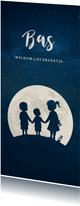 Langwerpig geboortekaartje silhouet 3 kinderen in een maan