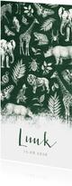 Langwerpig stoer geboortekaartje jungle met allerlei dieren