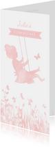 Langwerpige communiekaart silhouet meisje op schommel