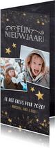 Langwerpige nieuwjaarskaart met een krijtbord achtergrond