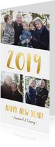 Langwerpige nieuwjaarskaart met fotocollage en jaartal 2019