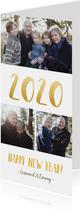 Langwerpige nieuwjaarskaart met fotocollage en jaartal 2020