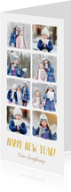 Langwerpige nieuwjaarskaart met fotocollage met 8 fotos