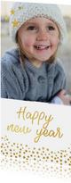 Langwerpige nieuwjaarskaart met grote foto en goud