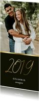 Langwerpige nieuwjaarskaart stijlvol gouden 2019 en foto