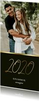 Langwerpige nieuwjaarskaart stijlvol gouden 2020 en foto