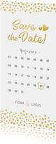 Langwerpige Save the Date kaart kalender met gouden hartjes