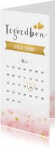 Langwerpige tegoedbon met kalender en hartjes