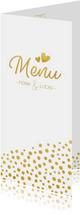 Langwerpige trouw menukaart met gouden stippen