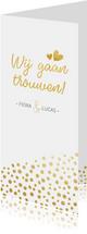 Langwerpige trouwkaart met goudlook stippen