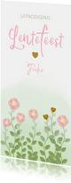 Lentefeest uitnodiging waterverf bloemen en hartjes