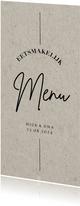 Less is more menukaart trouwen kraftlook moderne typografie