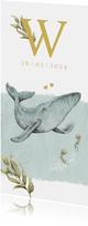 Lief en bijzonder geboortekaartje met walvisje in de oceaan