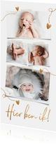 Lief geboortekaartje 4 foto's hartjes en goud koperlook