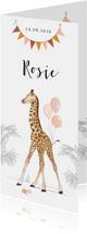 Lief geboortekaartje met babygiraf, slingers en ballonnen