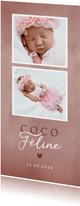 Lief geboortekaartje met foto's roze waterverf en hartje