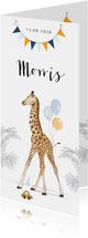 Lief geboortekaartje met geillustreerde giraf en vlaggenlijn