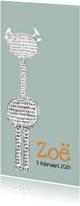 Geboortekaartjes - Lief geboortekaartje met gestreepte giraffe