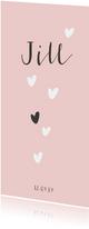 Lief geboortekaartje met hartjes regen voor een meisje