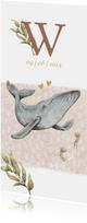 Lief geboortekaartje met schattig walvisje in de zee
