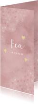 Lief geboortekaartje roze waterverf en dwarrelende hartjes