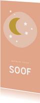 Lief roze geboortekaartje met gele maan en witte sterren