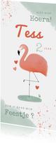 Lieve kinderfeestje uitnodiging flamingo meisje roze