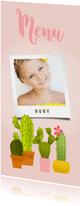 Lieve menukaart eerste communie met foto en cactussen