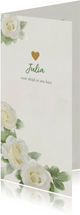 Lieve rouwkaart met witte rozen op gewassen achtergrond