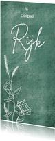 Lieve uitnodiging doopsel met wilde bloemen en zilver hartje