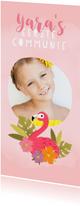 Lieve uitnodiging eerste communie met flamingo en plantjes