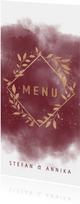 Menükarte zur Hochzeit aquarell mit goldenen Zweigen