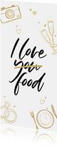Menükarte Hochzeit 'I love food' Doodles