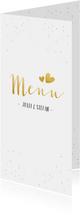 Menükarte Hochzeit mit Foto, goldener Schrift und Konfetti