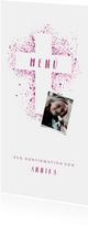Menükarte Konfirmation Foto und Kreuz Farbspritzer pink
